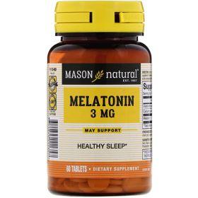 Mason Natural - Mason Natural Melatonin 3 мг 60 таб. - Арт. 001443 - Товар из Интернет-магазина ВКУС победы - магазин спортивного питания = 340 РУБ.